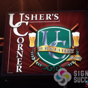 Usher's Corner in Hillyard, Spokane, asked for a new design for their logo and Signs for Success delivered with this great, eye-catching logo design and backlit sign face