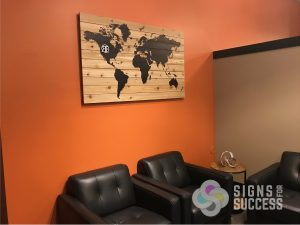 Custom printed wood wall art, Custom printed cedar planks world map with accent