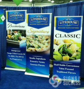 Litehouse Foods matches their whole booth from backdrop to podium covers to retractable banner stands by Signs for Success, Spokane, WA, and Sandpoint, ID