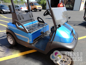 Blue golf cart wraps with black striping