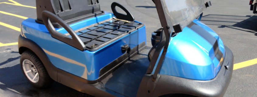 Blue golf cart wrap with black striping