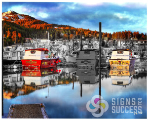 Custom boat wraps for Alaskan fishing boats designed by Signs for Success, boat wraps spokane