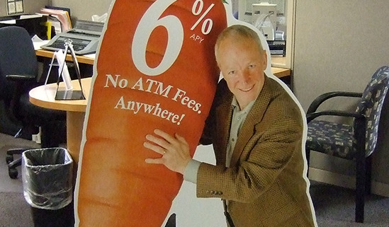 This huge carrot standee made you look for Global Credit Union in Spokane, lifesized cutout that is free standing