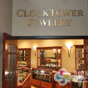 Dimensional metal letters for building entrance, interior or exterior, like these for ClockTower Jewelry at Coins Plus Spokane
