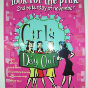 Pink poster for Girls Day Out event in Spokane, by signs for Success, done fast, call now