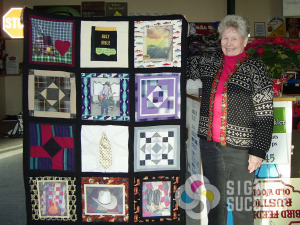 If you have photos that you want printed on linen for sewing into your quilts, like these few in memory of her father, call Signs for Success for custom pattern or photo printing on fabric, custom printed fabrics