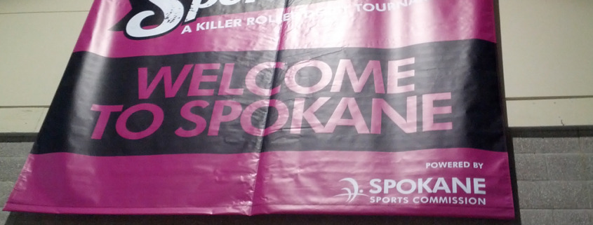 Spokane Sports Commission put on Spokarnage, large event banner by Signs for Success