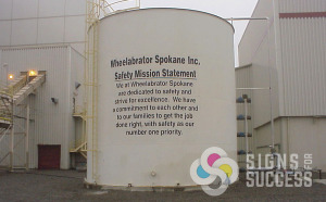 Adding cut high performance vinyl to tanks is great to display messages, advertisements, or mission statements like Wheelabrator in Airway Heights Spokane did, vinyl lettering airway heights