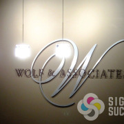 Metal laminate dimensional letters for Wolf & Associates, by Signs for Success in Spokane, dimensional letters and logos