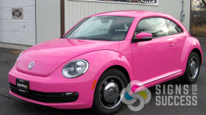 Avery color change car wrap vinyl, very small printed background to change this bug to hot pink, by Signs for Success, Spokane, color change wrap