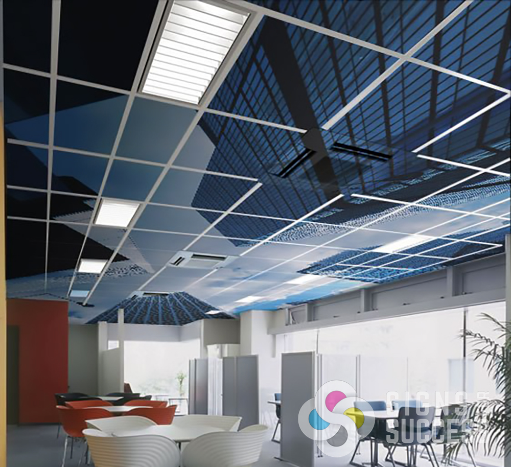 Ceiling Graphics Ceiling Decals Vs Printed Ceiling Tiles