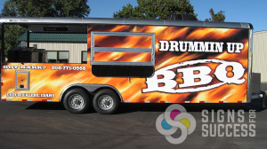 """Drummin Up BBQ gets more business with this custom """"fir"""" wrap designed & installed by Signs for Success in Spokane, Call now for fast signs service, vehicle graphics spokane"""