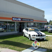 Gus Johnson Ford needed their awnings updated, so Signs for Success printed their signature color and logo, and installed on the awnings