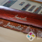 Printed woodgrain for dashboard dash restoration of Impala pieces by Signs for Success