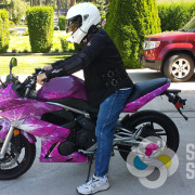 Provided kits or we can print your design and wrap your motorcycle, like this one went from bright green to hot pink, motorcycle wrap