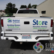 Truck lettering can look great without the high cost of a wrap, for Habitat for Humanity, by Signs for Success in Spokane.