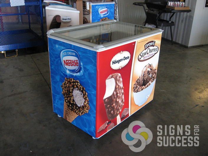 Food Truck Wraps-wrap your cooler or freezer like this ice cream freezer wrap, update old graphics with a new, unique wrap by certified installers at Signs for Success Spokane