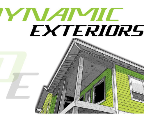Dynamic Exteriors logo designed fast by Signs for Success in Spokane, serving Spokane Valley, Deer Park, Medical Lake, Chewelah