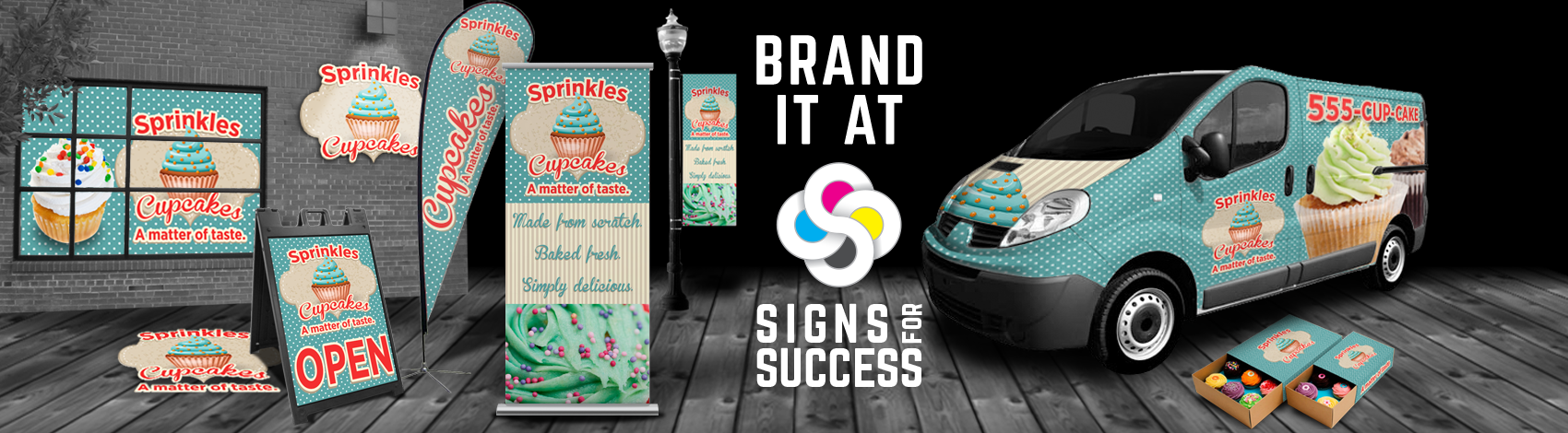 At Signs for Success in Spokane, we can get your branding done with the full sign package, from banners, to promotional products, to vehicle wrap