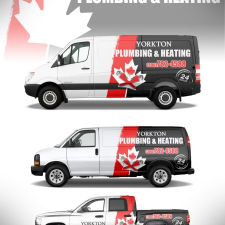 Once we create your logo, like this one for Yorkton Plumbing & Heating, we can lay it out for a variety of uses, signs, banners, vehicle wrap, business cards, promotional products and more