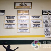 custom sponsor school signs hanging in gym for schools by Signs for Success near Mead and Chewelah