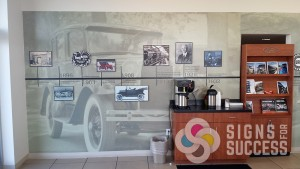 Gus Johnson Ford, Spokane, Wall wrap with Signs for Success and Quinn Group Advertising, wall vinyl and dimensional signs, wall wrap