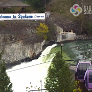 large banner in downtown Spokane near Riverfront Park and Spokane Falls, by Signs for Success, large banner spokane