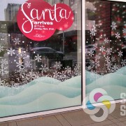 Temporary advertising for mall windows at Riverpark Square last winter, Spokane