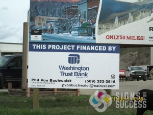 """""""Financed by"""" Site sign installed on existing posts in Colville, skid sign colville"""