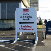 Temporary site signs or skid signs to show wayfinding, direction, or new information, skid signs mead