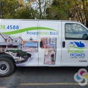 Pioneer Homes van wrap design featuring new logo, created by Signs for Success, get custom logo design Spokane