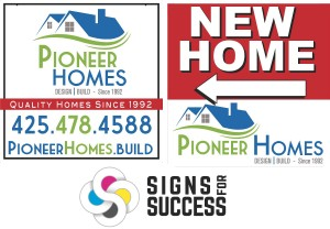 Get custom full color yard signs, we can create new logo and branding for contractors, home builders, realtors etc; logo design Spokane