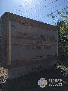 concrete monument sign makeover, entry sign makeover Spokane WA