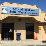 brushed aluminum sign, building signs for facility rebranding in Spokane, designed and installed by Signs for Success