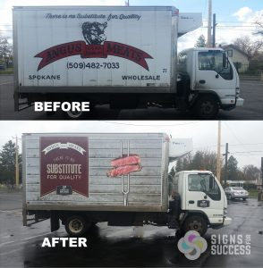 before and after box truck graphics, fleet rebranding for Angus Meats, box truck wrap printed and installed at Signs for Success in Spokane