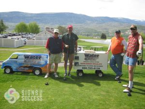 contractor branding with go cart wrap at golf tournaments