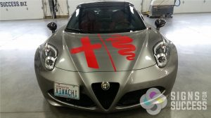 professional graphics installation on Alpha Romeo Spiker, car decals vinyl kit