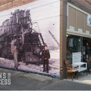 Historic Wall Mural using printed self adhesive vinyl installed on brick
