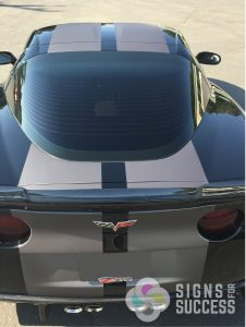 rear view of full body racing stripes, corvette racing stripes
