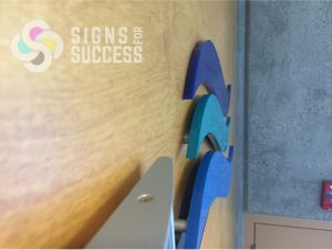 dimensional signs with stand off mounts for EWU scholarship by Signs for Success