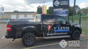 custom truck wrap for valente chiropractor spokane