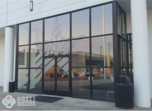 Etched Glass Vinyl on entrance windows at Food Services of America