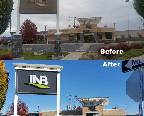 INB Pylon sign before and after daytime, lighted bank signs