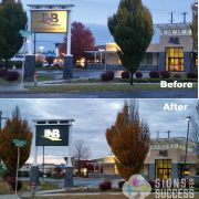 INB Before and After Lighted pylon signs at night