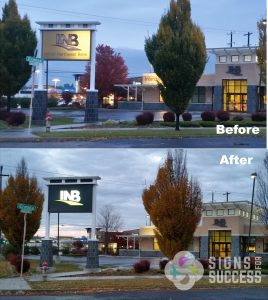 INB Before and After Lighted pylon signs at night, lighted bank signs