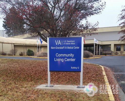 way finding signs building sign at VA Hospital