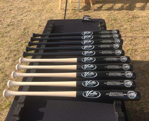 white ink decals on Vullo custom bats