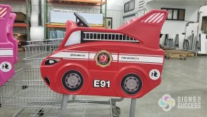 Fire Engine Shopping Cart Decals bring these fun carts back to life