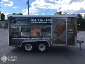 Vinyl Wrap on construction trailer 3M Vinyl