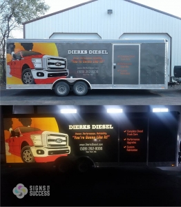 dierks diesel reflective vinyl wrap, reflective graphics on a full trailer wrap in Spokane